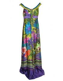 Robe longue en soie colorée